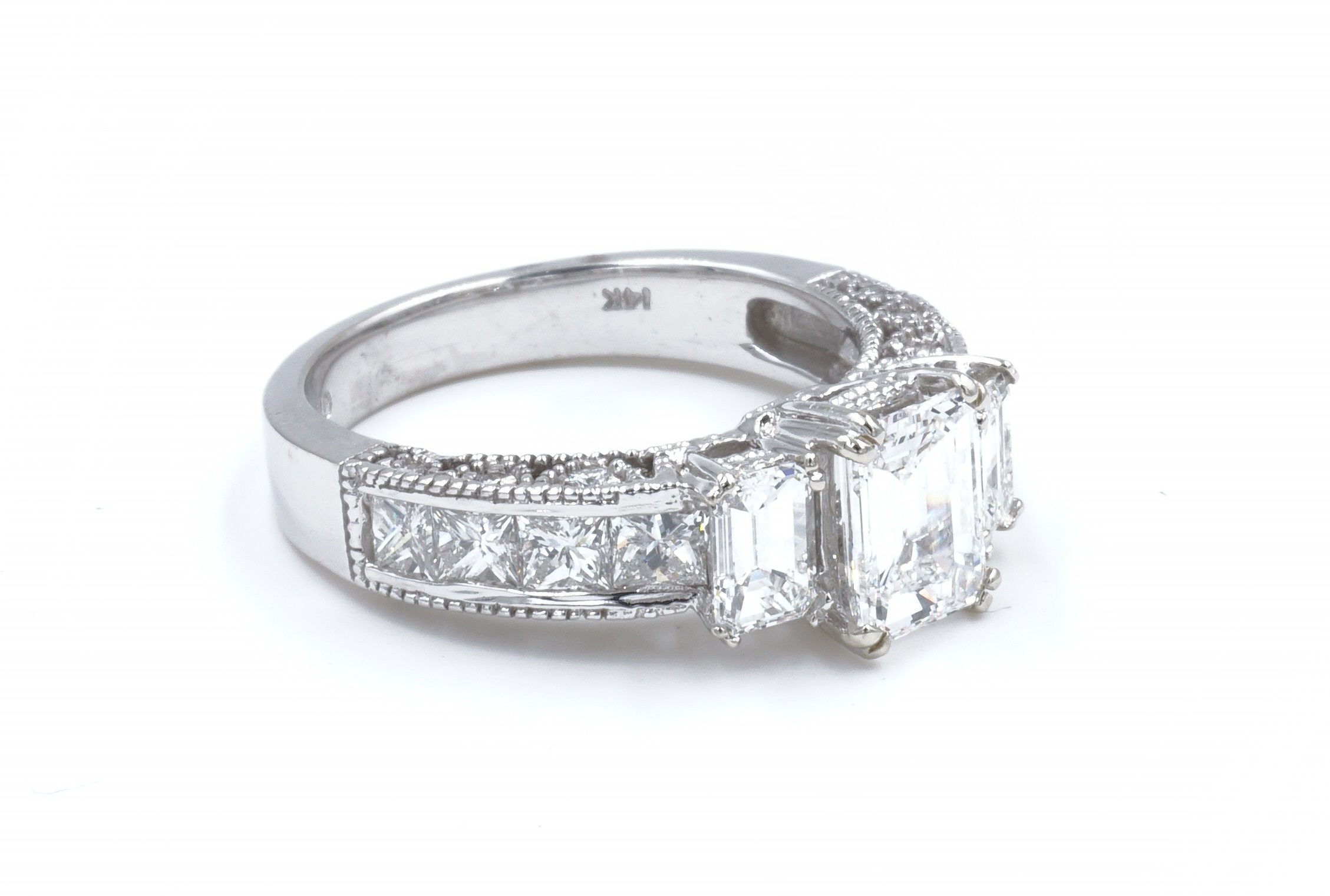 Three Stone Emerald Cut Diamond Engagement Ring