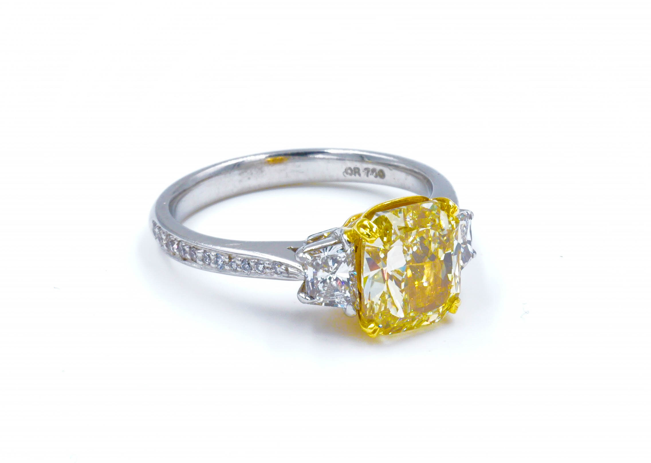 Fancy Yellow Cushion Cut Diamond Three Stone Engagement Ring