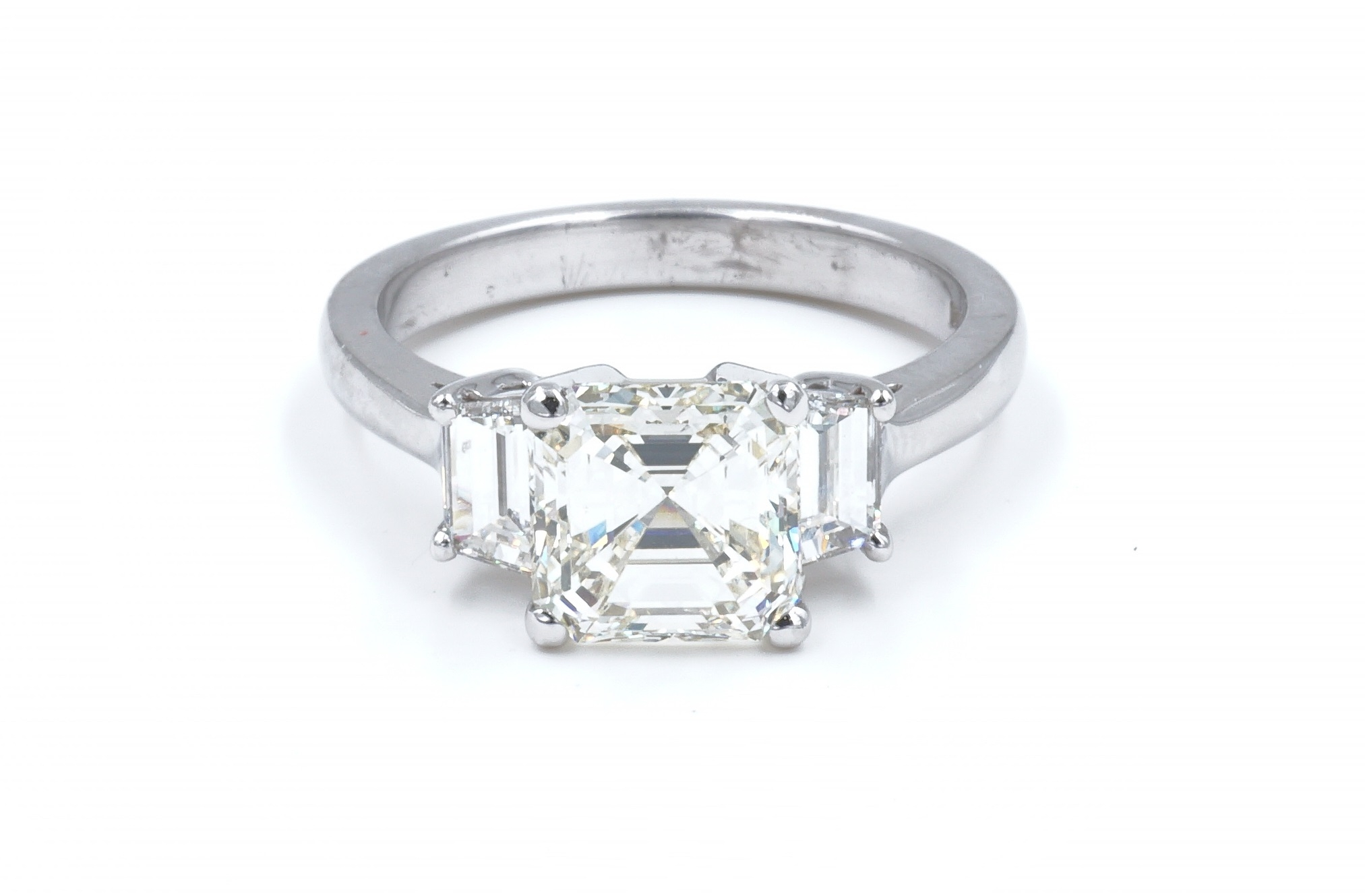 Asscher Cut Diamond Three Stone Engagement Ring