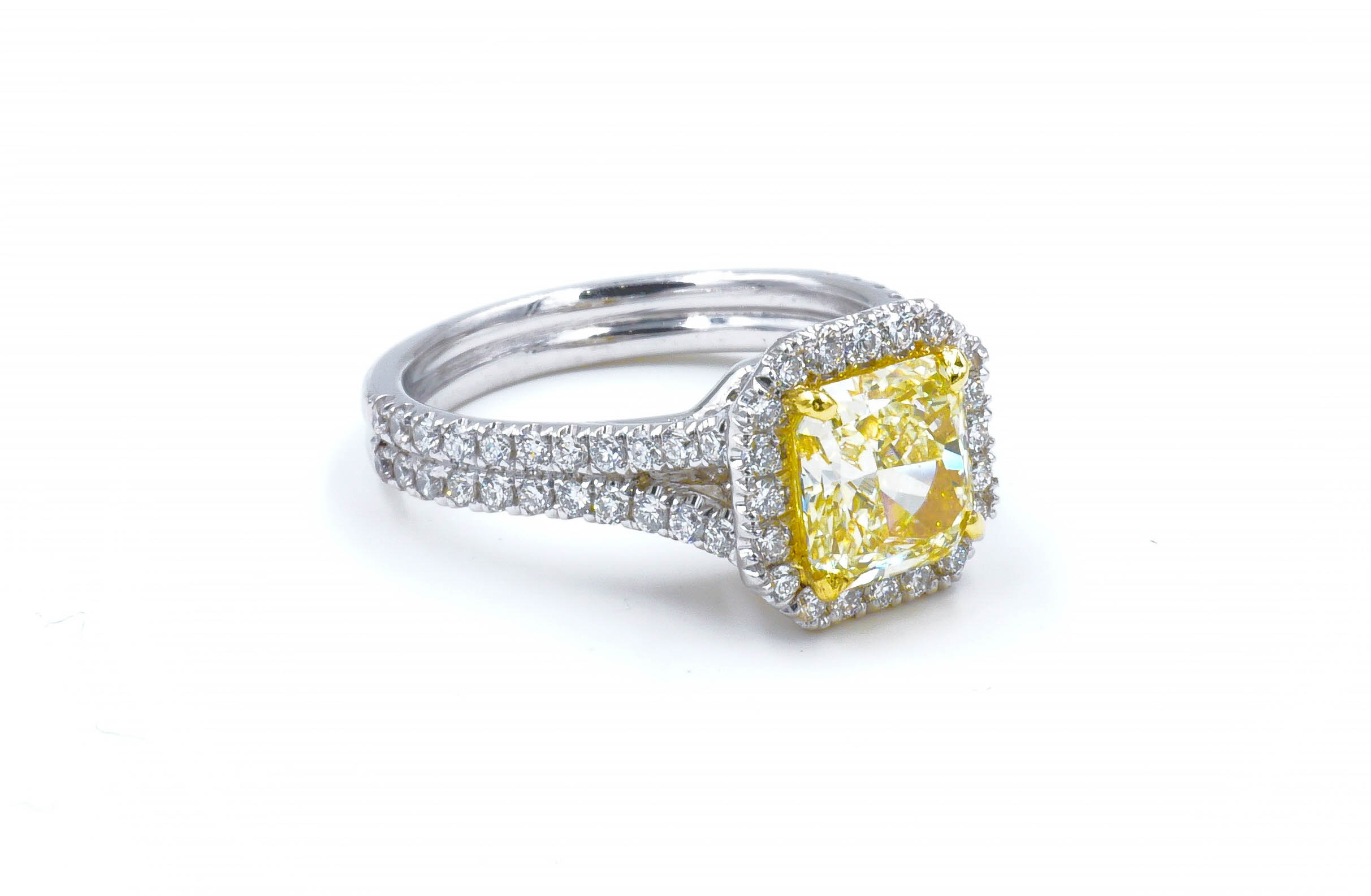 Fancy Yellow Radiant Cut Diamond Halo and Split Shank Engagement Ring