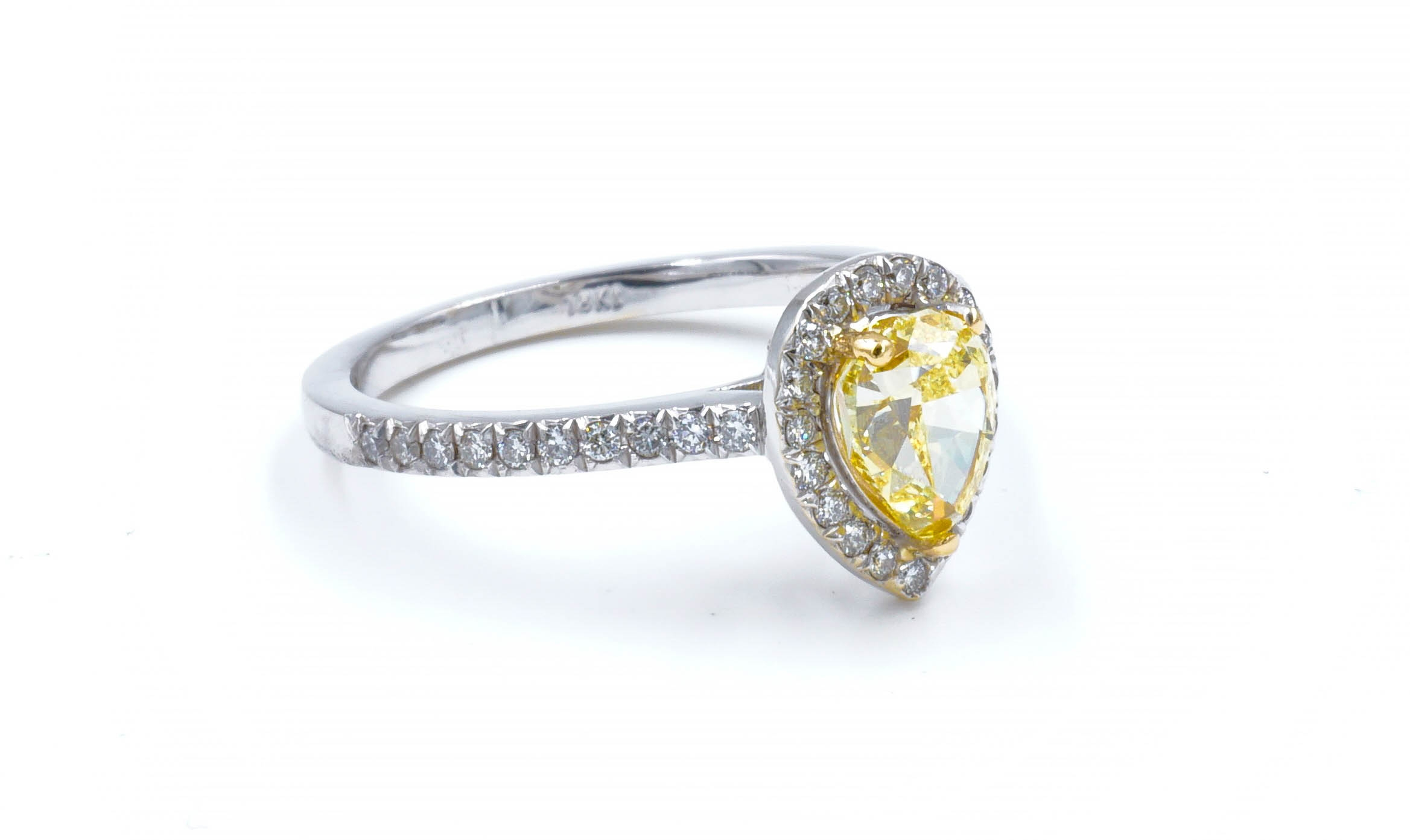 Fancy Yellow Pear Shape Halo Diamond Engagement Ring