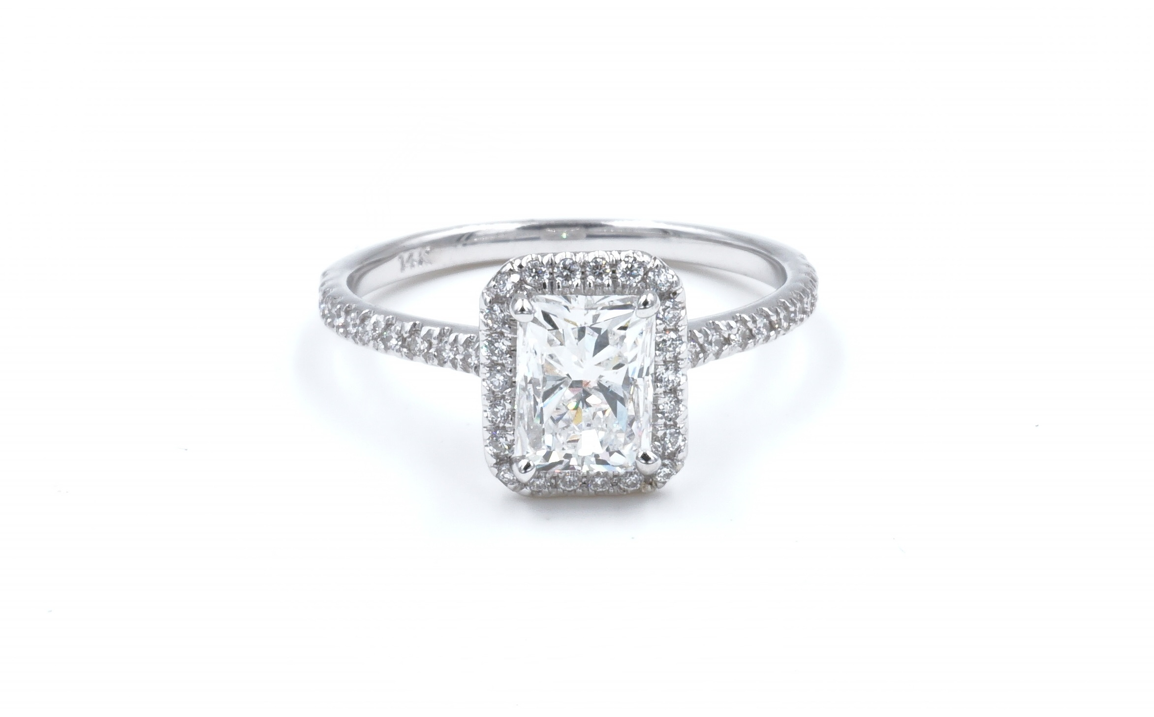 Halo Style Radiant Cut Diamond Engagement Ring