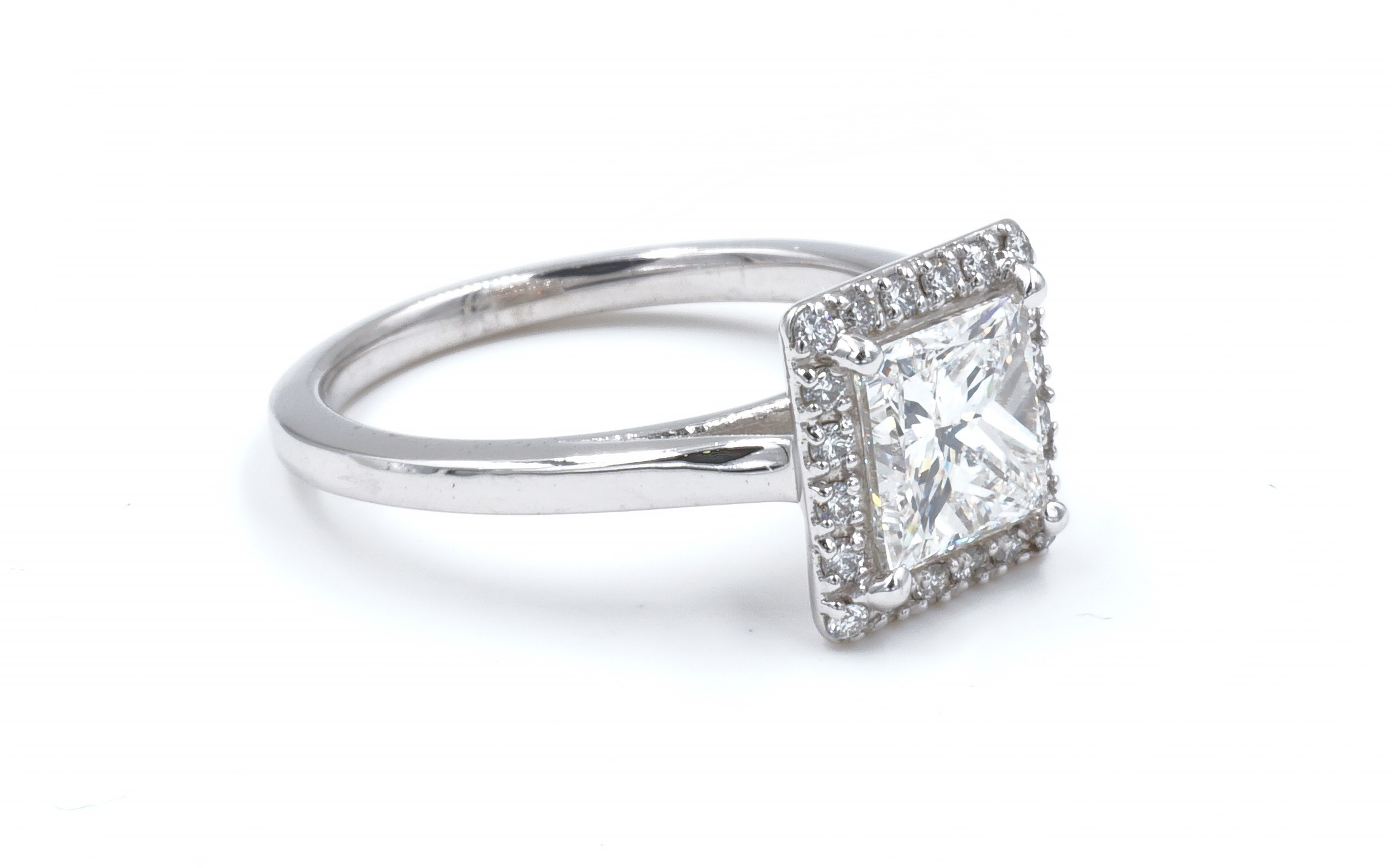 Halo Style Princess Cut Diamond Engagement Ring