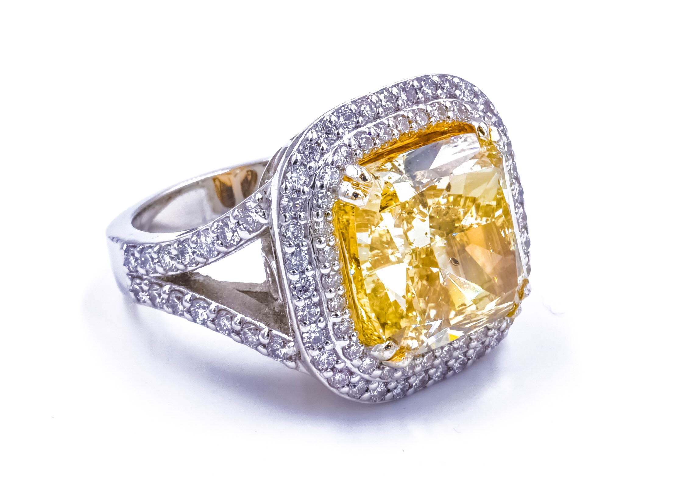 Fancy Yellow Cushion Cut Double Row Halo Split Shank Ring