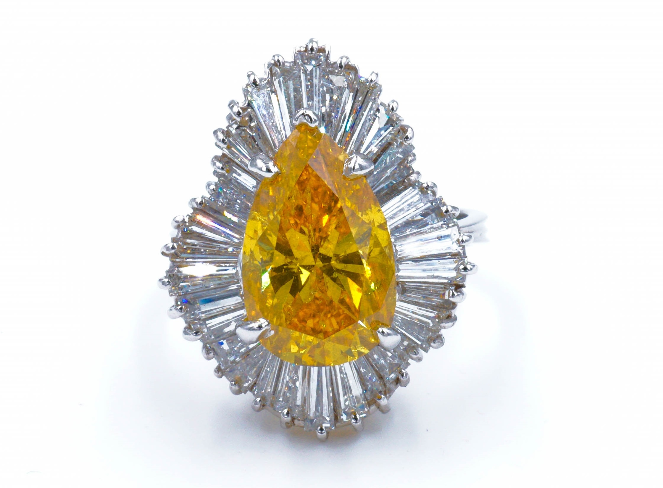 Fancy Intense Yellowish Orange Pear Shape Diamond Ballerina Ring