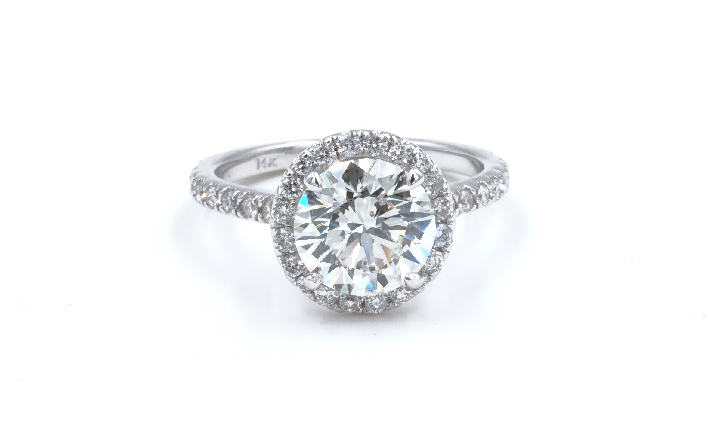 Halo Style Round Brilliant Diamond Engagement Ring