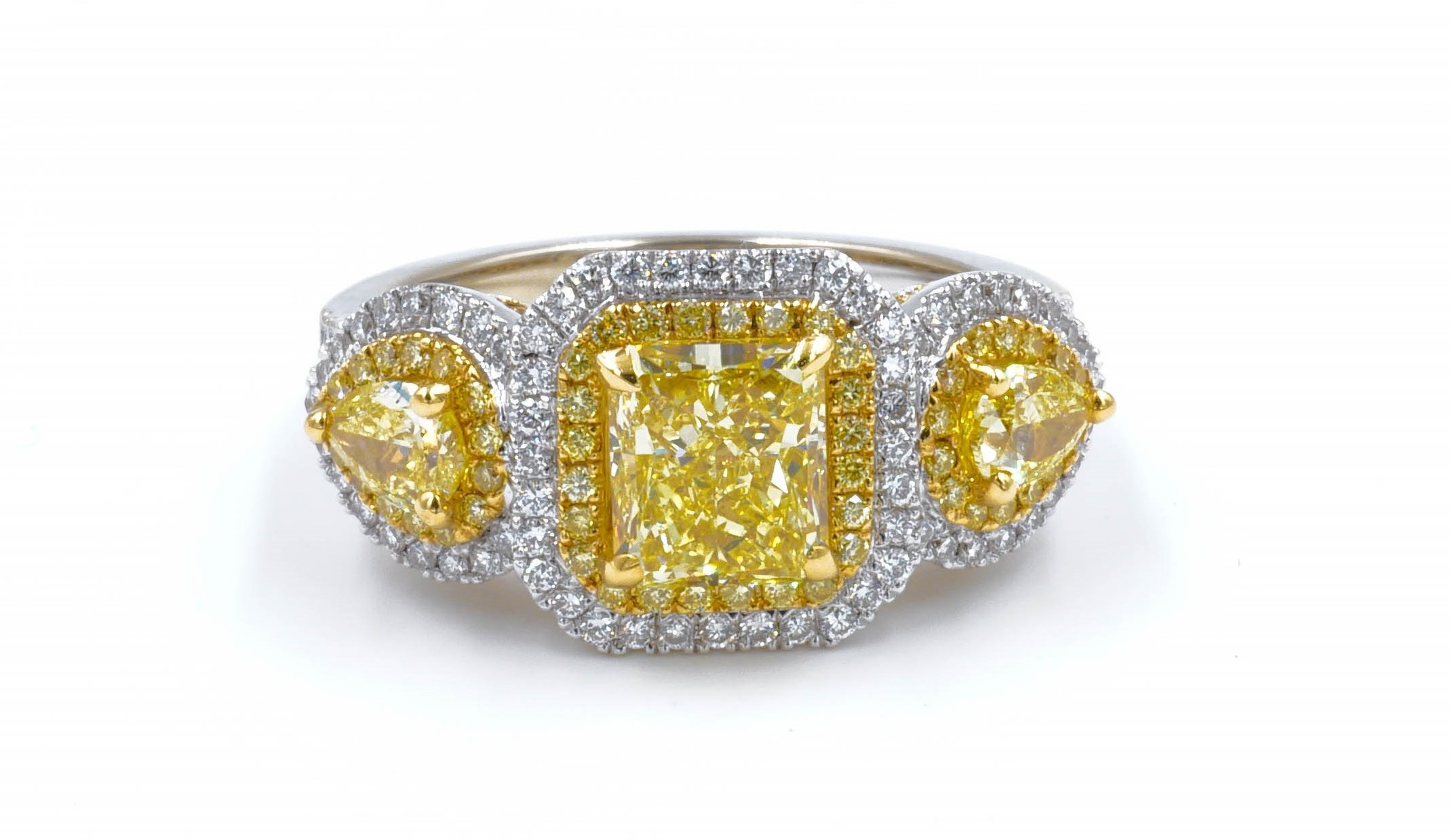 Fancy Yellow Radiant Cut Diamond Three Stone Halo Style Engagement Ring