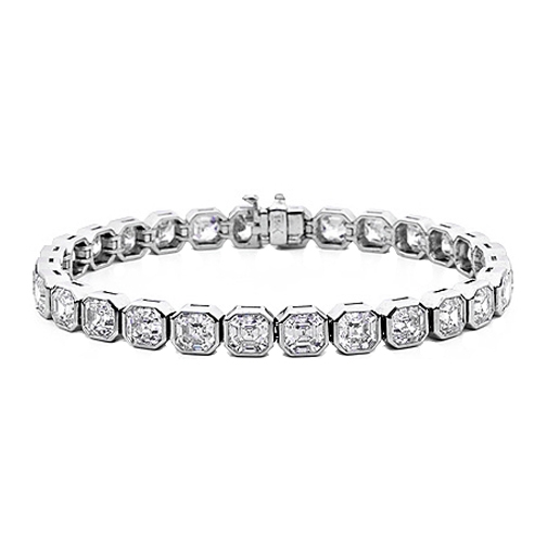 Asscher Cut Diamond Bezel Set Bracelet (Sample)