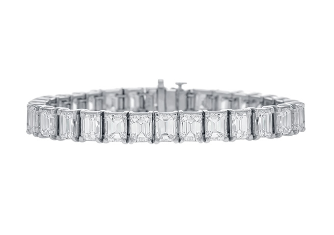 Emerald Cut Diamond Tennis Bracelet