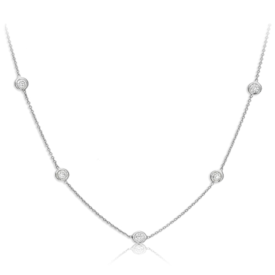 Round Diamond Bezel Necklace (Sample)