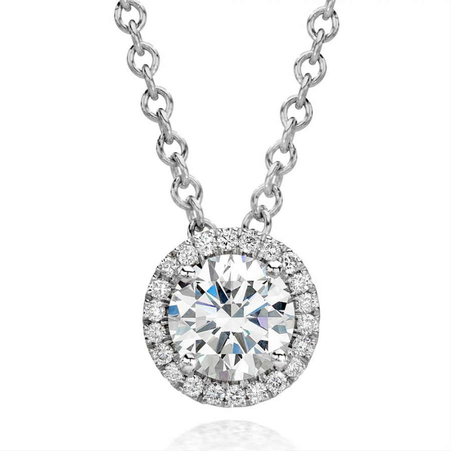 Round Diamond Halo Necklace (Sample)