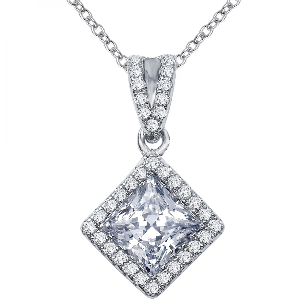 Princess Cut Shape Diamond Necklace
