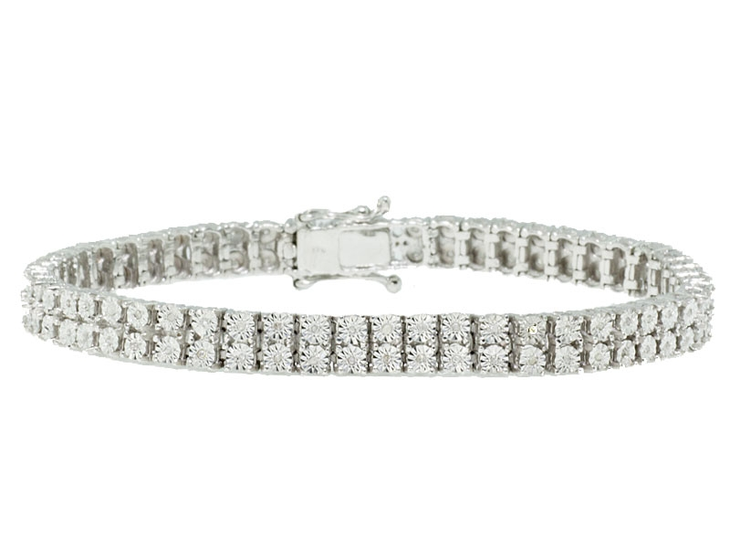 Double Row Round Diamond Bracelet (Sample)
