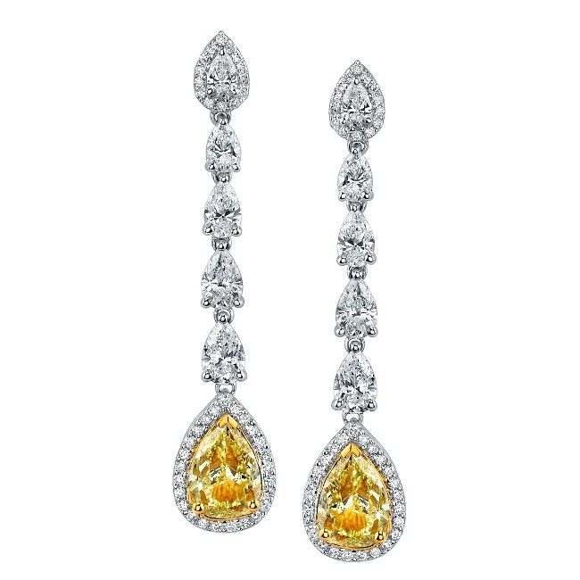 Fancy Yellow and Diamond Drop Earrings (Sample)