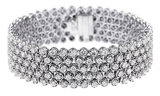 5 Row Round Diamond Bezel Style Bracelet (Sample)