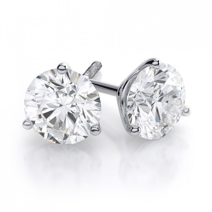 Round Brilliant Cut Diamond Studs 3 Prong Earrings