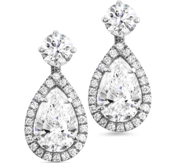 Pear Shape and Round Diamond Drop Earrings (Sample)