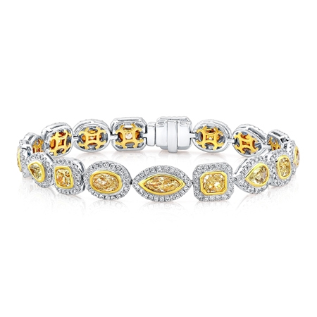 Multi Diamond Fancy Yellow and White Bracelet (Sample)