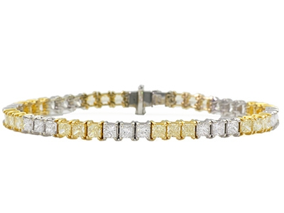 Fancy Yellow and White Diamond Princess Cut Bracelet (Sample)